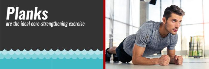 Male swimmer planking