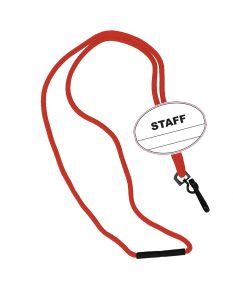 Staff Oval Name Tag Breakaway Lanyard-Red