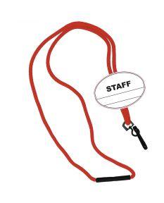 Staff Oval Name Tag Breakaway Lanyard-Red