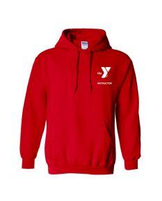 YMCA Standard Instructor Hooded Sweatshirt-Red-Small