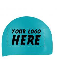 Custom Printed Silicone Caps-Aqua-1-Color Logo