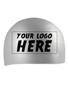 Custom Printed Silicone Caps-Silver-1-Color Logo