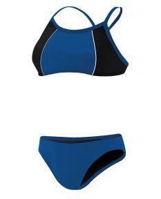 RISE Solid Poly Splice Bikini - Color - Royal/Black,Size - XXSmall