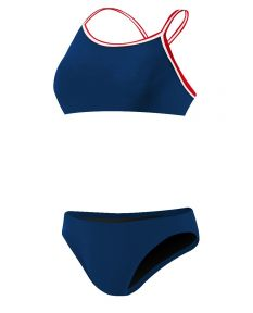 Rise Solid Poly Tri Color Bikini-Navy-Large