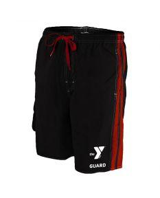 YMCA Guard Splice Board Short - Color - Black/Red,Size - Medium