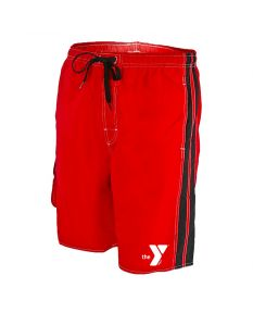 YMCA Splice Board Short - Color - Red/Black,Size - Small