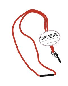Oval Name Tag Breakaway Lanyard-Red