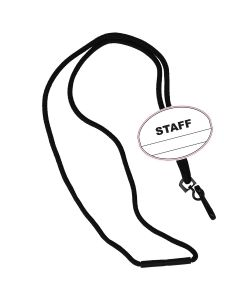 Staff Oval Name Tag Breakaway Lanyard-Black