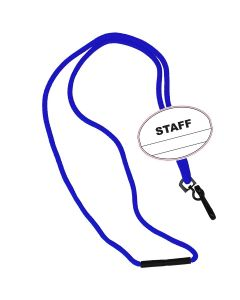 Staff Oval Name Tag Breakaway Lanyard-Royal