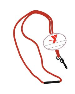 YMCA Custom Name Oval Tag Break Away Lanyard -Red