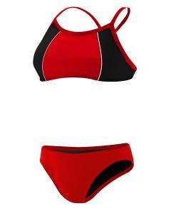 RISE Solid Poly Splice Bikini - Color - Red/Black,Size - XSmall