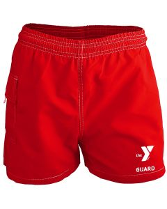 YMCA Guard Female Board Short - Color - Red,Size - Small