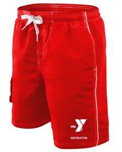 YMCA Instructor Boardshort - Color - Red,Size - Medium