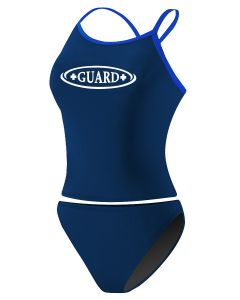 RISE Guard Poly 2-Piece Color Trim Tankini -Navy/Royal-Large
