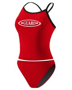 RISE Guard Poly 2-Piece Color Trim Tankini -Red/Black-Large