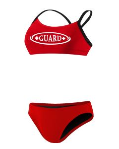 RISE Guard Poly 2-Piece Color Trim Bikini-Red/Black-Large