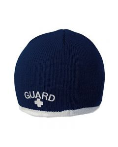 Guard Single Stripe Knit Beanie-Navy/White