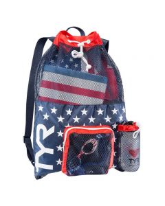 TYR Big Mesh Mummy Backpack - Color - Red/Navy
