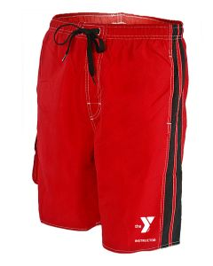 YMCA Instructor Splice Board Short - Color - Red/Black,Size - Small
