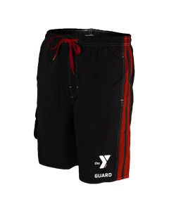 YMCA Guard Splice Board Short - Color - Black/Red,Size - Medium