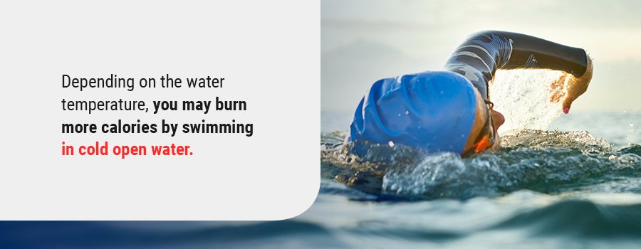 Depending on the water temperature, you may burn more calories by swimming in cold open water.
